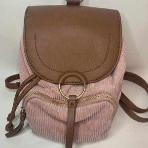 Mini Pink Corduroy Backpack w/ Faux Brown Leather